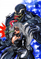 Black cat and Venom by Doku-Sama