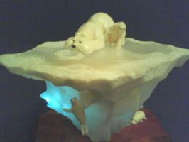 polar bear with baby by tomkush