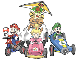 Mario Kart 8: Bowser, Peach, Mario and Luigi by AlSanya