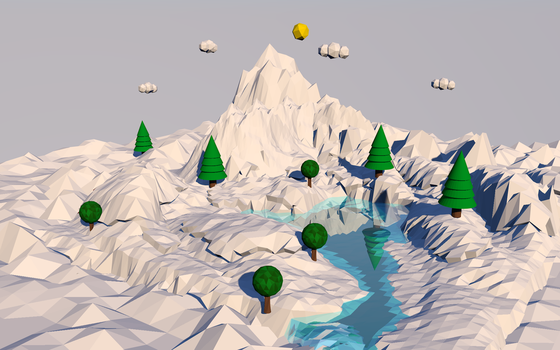 Isla de nieve Low Poly Cinema 4D by xKarinchi