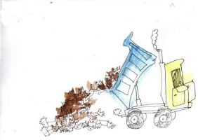 and one day a dump truck... by GrasshopperSense