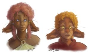Dei and Randy with curly hair by In-Tays-Head