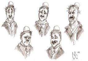 Charlie Chaplin expressions by Clairictures