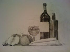 Graphite Still Life - Fruits and Wine, White Back by DrAspeL