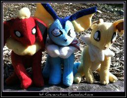 1st Generation Eeveelution Plushies by CeltysShadow