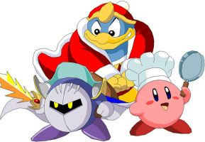 Kirby MetaKnight and King Dede by Batman316