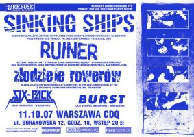 Sinking Ships gig poster by 13VAK