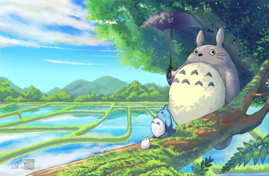 Totoro in the spring rice field by ComplexWish