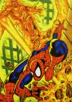 Spiderman vs Torch by chrisxart