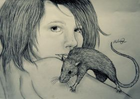 Johanne Degn and her rat. by Pedobearq