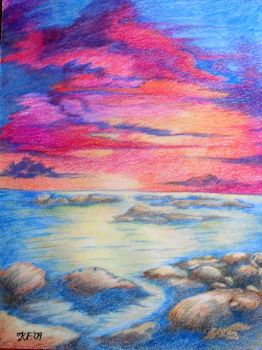 Sunset colour drawing by Kate-ColourTheory