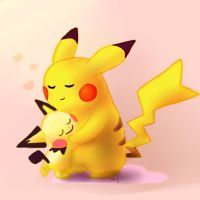 025 and 172 Pikachu and Pichu by littlebuster-k2