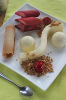 Lemon Panna Cotta and Bay Leaf White Choc Mousse by cakecrumbs