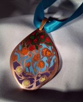 Jewelry: Pendant 002, 'Fiery Flowers, Evening Sky' by 4pplemoon