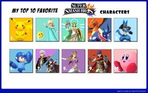 SWR's Top 10 Favorite Smash Bros Characters by StarWarriorRobby