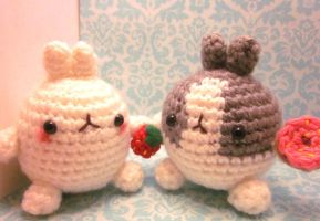 TWO Molang Rabbit Bunny Amigurumi Crochet Doll 2 by Spudsstitches