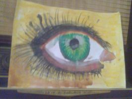 watercolor and dry pastel eye by vuk99