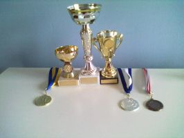 My Basketball cups and medals so far by PokeAnimalsLover