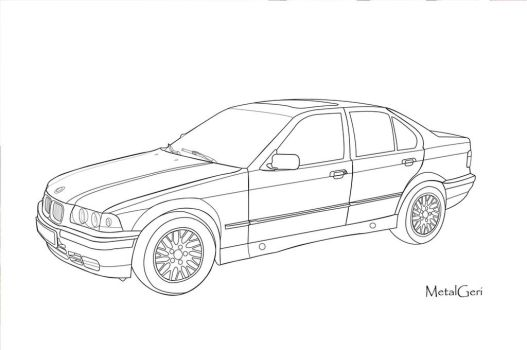 BMW E36 Vector Draw by MetalGeri