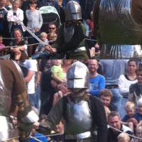 Breastplate tested during medieval fair by SindahlEjlersen