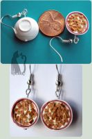 Polymer Clay Cinnamon Life Bowl Earrings by Talty