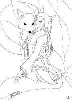 LoL Ahri Line Art (Original Skin) by Lylme