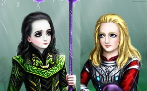 Rain Thor Loki faces by Develv