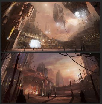 Science fiction city thumbnails by Tryingtofly