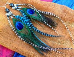 Zebra Feather Earrings by Hide-Your-Feathers