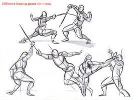 fencing poses for maya_01 by AlexBaxtheDarkSide
