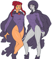 Starfire and Raven outfit switch flats by EICHH-EMMM