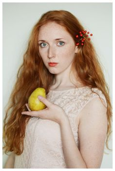 Girl with Pear. by saturninus