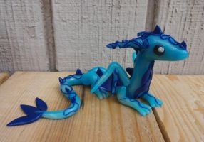 Swirly Blue Dragon by ByToothAndClaw