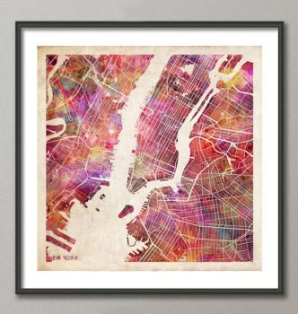 New York map - Watercolor by MapMapMaps