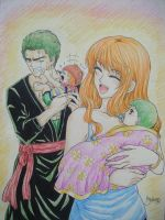 Little Marimo and Mikan by Cloudy(ZoroNami) by BelleLoveZoro