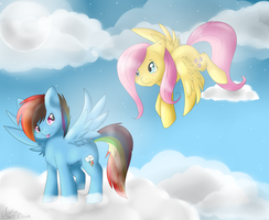 RainbowDash and FlutterShy by BlueGriffyon