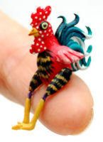 CHICKEN HEN ROOSTER DOLL by WEE-OOAK-MINIATURES