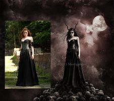 La Reine Noire - Before and After by MorriganArt