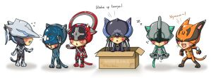 Warframe Kitties group 1 by DarikaArt