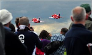 Red Arrows 1 / Take-off / FAS 2012 by Somebody-Somewhere