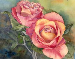 Red Roses, original watercolour painting by MaddySwan