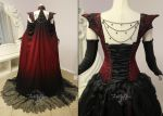 Crimson Moon Dragon Gown (back view) by Firefly-Path