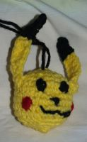 Pikachu Head, Backpack clip/Ornament by LilWolfStudios
