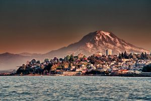 Mount Rainier behind Tacoma by arnaudperret