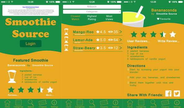 Smoothie Source iOS Application Layout by WolfTron