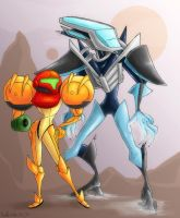 Samus and Rundas by Zimeta