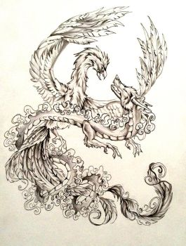 Dragon and Phoenix Tattoo Design by Lucky978