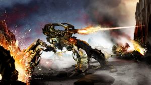 Mech Battle by TedKimArt