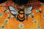 Bee Honey neck body painting close by Bodypaintingbycatdot
