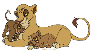 Vitani and Cubs by Sazani